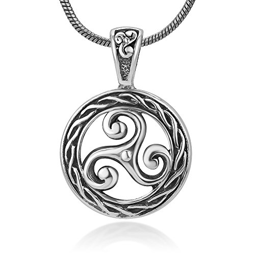 Chuvora Sterling Silver Triskele Triskelion Triple Spiral Celtic Knot Braided Rope Edge Charm Pendant 18