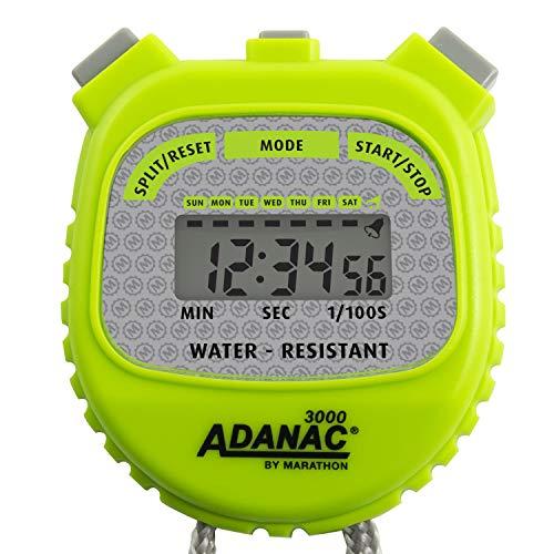 MARATHON Adanac 3000 Digital Stopwatch Timer, Water Resistant (Neon Green, Pack of 1)