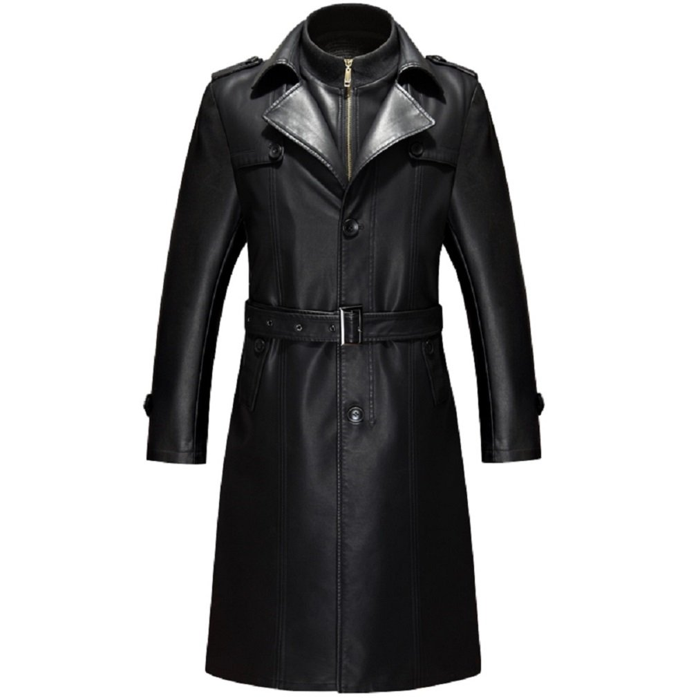 KUYOMENS Men's business suit collar Long Trench Coat Casual Long PU leather jacket