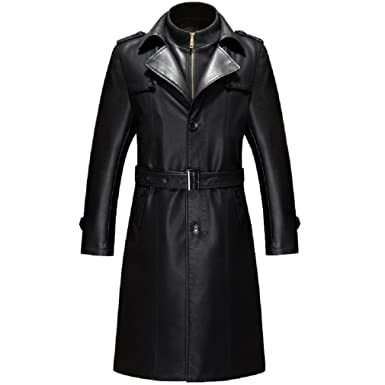 25f10bf8a39 KUYOMENS Men s Business Suit Collar Long Trench Coat Casual Long PU Leather  Jacket