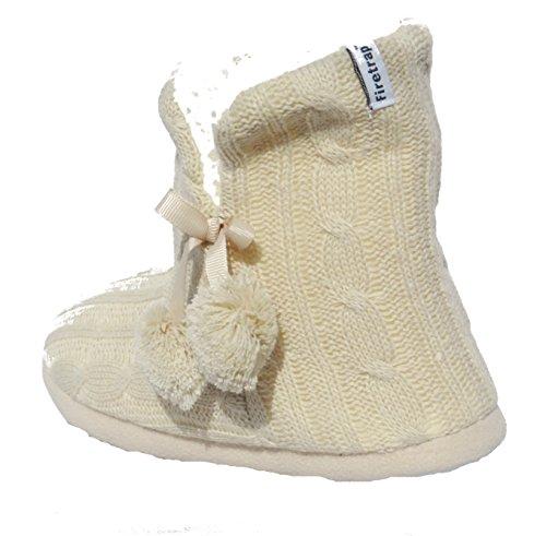 Mujeres Niñas Firetrap Cable de punto invierno Acogedor Pantuflas Botas Beige