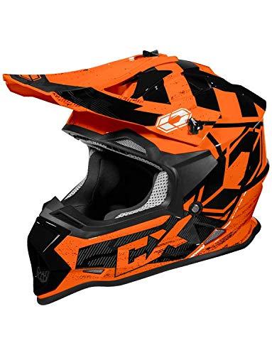 Castle Mode MX Youth - Stance - MX/Off-Road/ATV/UTV Helmet (MED, Flo Orange)