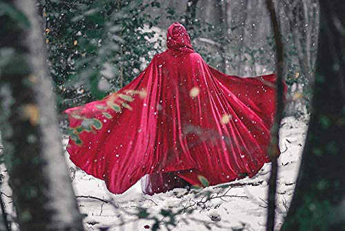 Red Riding Hood stretch velvet cloak with hood, medieval elven fantasy costume]()