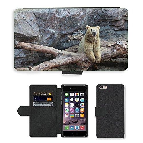 "Just Phone Cases PU Leather Flip Custodia Protettiva Case Cover per // M00128691 Animaux The Bear Nature // Apple iPhone 6 PLUS 5.5"""