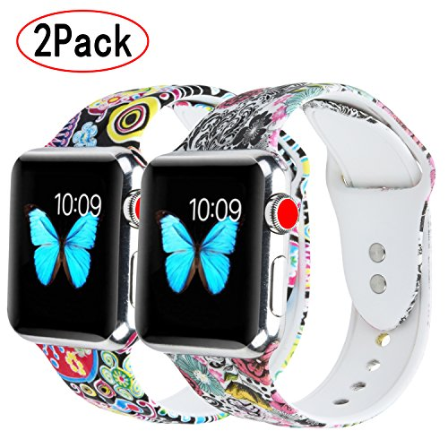 Flower Print Watch - XiangMi Watch Bands Compatible Apple Watch 38mm 42mm,Soft Silicone Floral Flower Print Sport Strap Replacement Band Compatible iWatch Apple Watch Series 3, Series 2, Series 1 Sport Edition