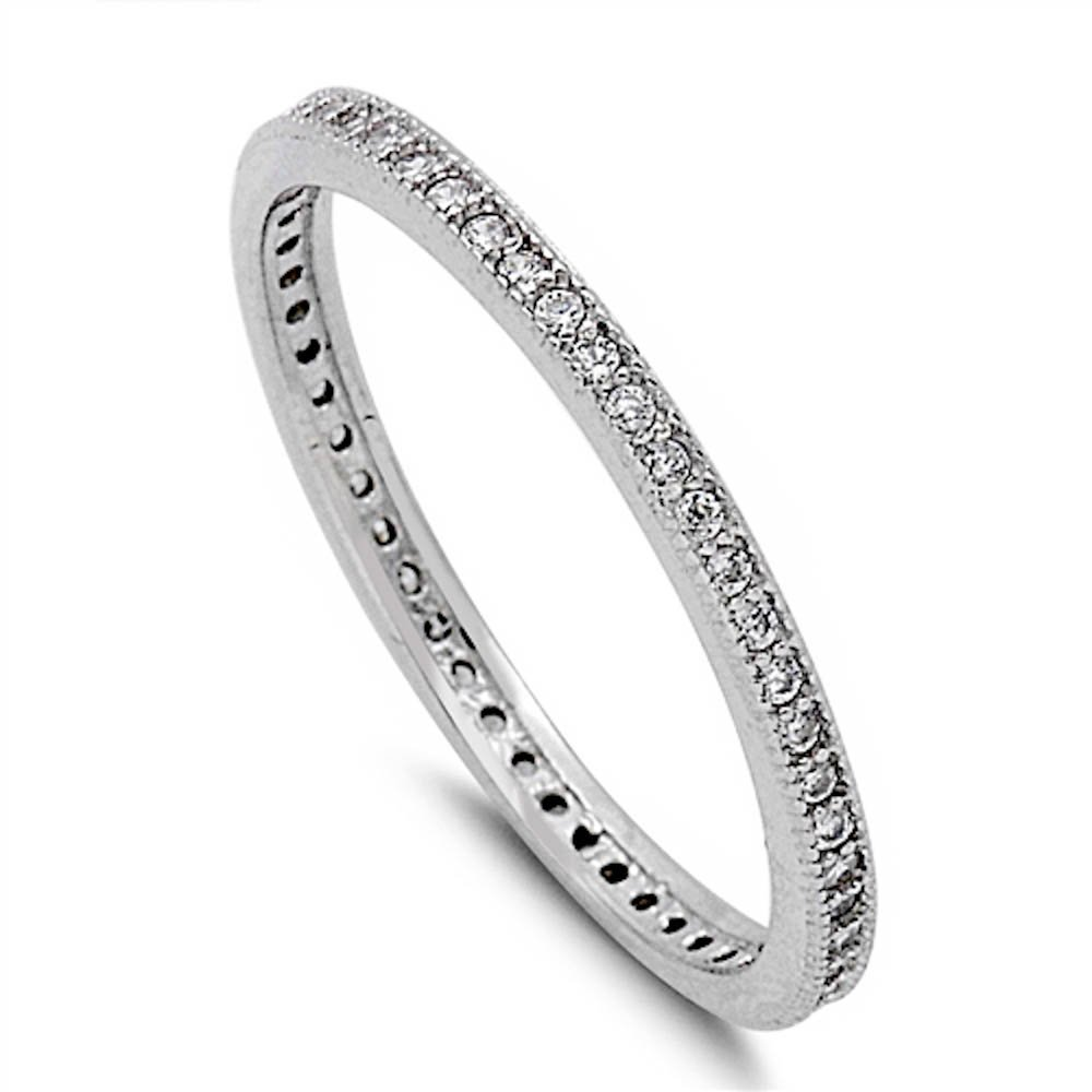 Cubic Zirconia Eternity Wedding Band .925 Sterling Silver Ring Size 5