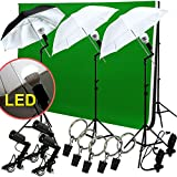 LED Photo Studio Lighting Photography 3 Backdrop stand Muslin Light Kit Umbrella