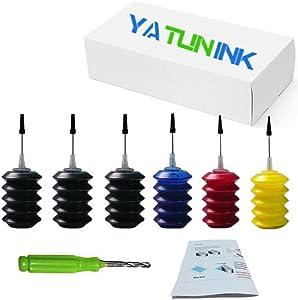 YATUNINK Refill Ink Bulk 30ml x(3BK 1C 1M 1Y) for HP 60 60XL 61 61XL 62 62XL 63 63XL 662 662XL 664 664XL 901 910XL Ink Cartridges