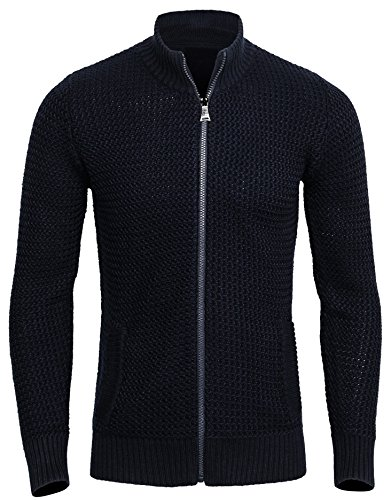 CANALSIDE Men's Merino Wool Zip-up Cardigan Sweater with Pockets