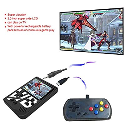 BAORUITENG  Handheld Game Console, 139 Classic Games +30 Vibrating Games 3 Inch TFT Screen Portable Retro Video Game Console Support for Connecting TV (Black): Toys & Games