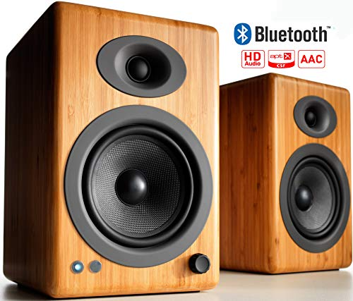 Audioengine A5+ 150W Wireless Powered Bookshelf Speakers, Bluetooth aptX HD 24 Bit DAC, Built-in Analog Amplifier & Remote Control (Bamboo) ()