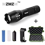Handheld Ultra Bright T6 LED Military Tactical Flashlight(with 18650 Lithium Battery& Charger& AAA Battery Holder& Carrying Case) Adjustable Focus& Waterproof& 5 Light Modes for Camping Hiking etc