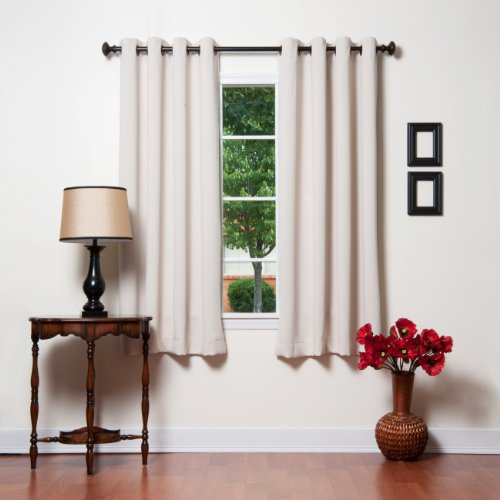 "Grommet Top Thermal Insulated Blackout Curtain 63"" Length 1 Pair - GT, Beige"