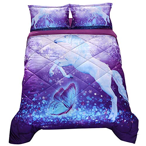 Wowelife Unicorn Comforter Sets Queen 3D Purple Butterfly Bedding Sets 5 Pieces with Comforter, Flat Sheet, Fitted Sheet and 2 Pillow Cases(Queen-5 ()