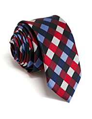 Shlax&Wing Skinny Mens Necktie Red Blue Checkered Slim Ties Silk New 2.36""