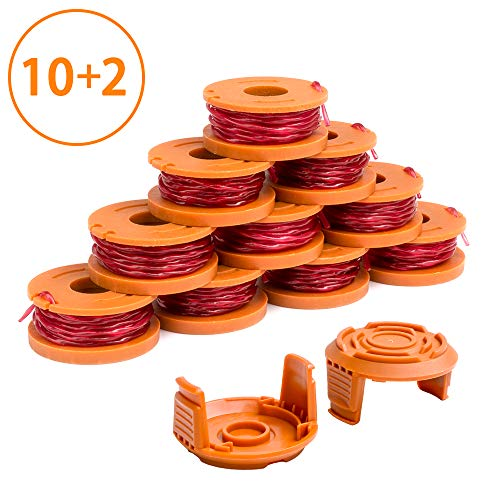 X Home Edger Spool Cap Compatible with Worx WA0010 WG180 WG163 Weed Eater Spools, WA6531 GT Spool Cover 50006531, String Trimmer Refills 10ft 0.065 inch 12 Pack (10 Replacement Spools, 2 Trimmer Cap)