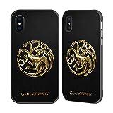 Official HBO Game Of Thrones Gold Targaryen Embossed Sigils Black Fender Case for Apple iPhone X