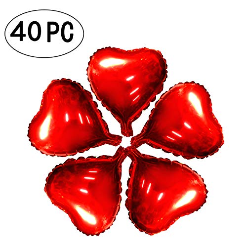 AKIO CRAFT 10 inch Red Heart Foil Mylar Balloons Wedding Favors Love Helium Balloons Graduation Baby Shower Decoration, 40 PC ()