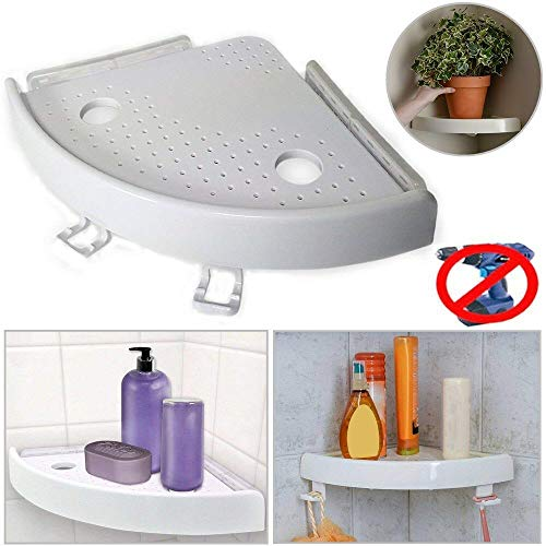 Neekor Bathroom Shelves Corner Caddy Basket Bathroom Triangular Shower Shelf Corner Bath Storage Holder Organizer Rack, Size: 9.1x1.8inch, White