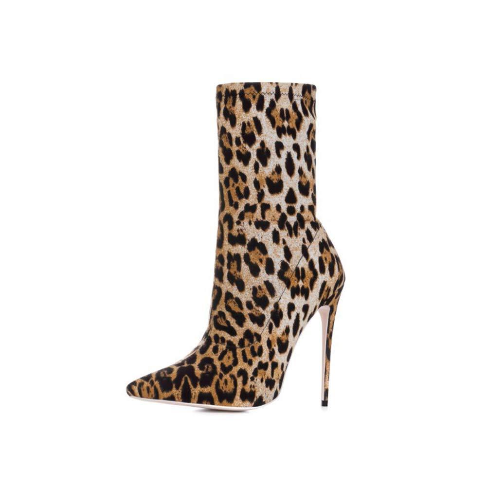 Damen Spitz Schlanker Absatz Stretch-Stiefel Mode Wildleder Mikrofaser Einlegesohle Gummi Sohle, einzig, alleinig Mittlere Stiefel (Absatzhöhe 12CM)