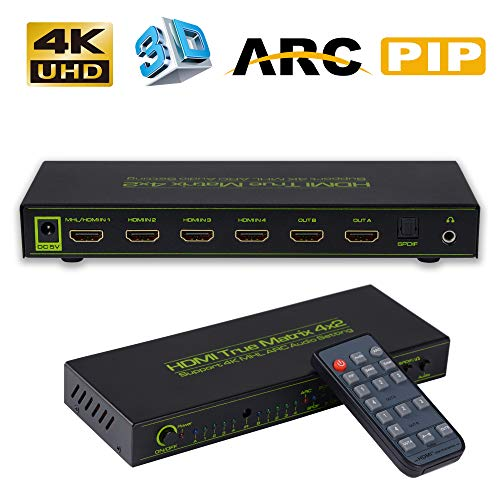 A/v Switcher Matrix (Bluesky 4K HDMI Splitter Switch, 4 Input 2 Output HDMI Splitter True Matrix HDMI Splitter Switch, 4x2 ARC HDMI Splitter Support 4K/Audio EDID/Audio Extractor/PIP)