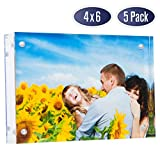 Dasher Products Acrylic Picture Frame 4x6 - Double Sided Magnetic Photo Frame, 24