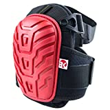 RK Safety RK-KP11 Knee Pads with Heavy Duty Foam Padding and Comfortable Gel Cushion, Adjustable Strong Dual Straps (Red, 1 Pair)