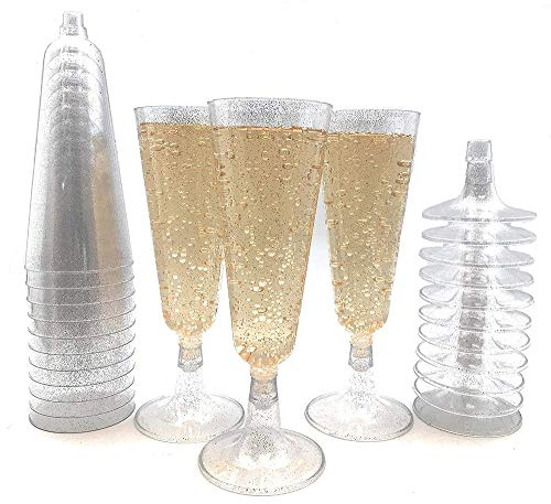 70pc Silver Glitter Plastic Classicware Glass Like Champagne Wedding Parties Toasting Flutes Party Cocktail Cups ()