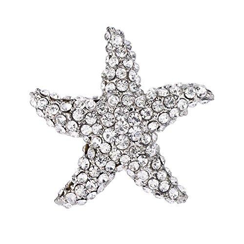 EVER FAITH Women's Austrian Crystal Dazzling Starfish Brooch Clear (Starfish Austrian Crystal)