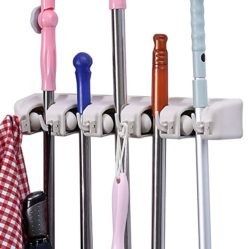 Mop and Broom Holder, Multipurpose Wall Mounted Organizer Storage Hooks, Ideal Tools Hanger for Kitchen Garden, Garage, laundry room (5 Position 6 Hooks)