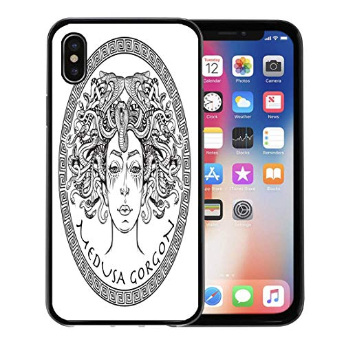 Semtomn Phone Case for Apple iPhone Xs case,Black Medusa Gorgon Bw Sketch Head Ancient Boho Character Coloring for iPhone X Case,Rubber Border Protective Case,Black -