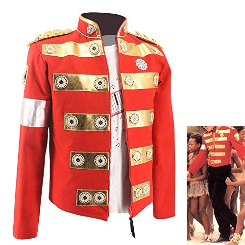 Michael Jackson Costume Jacket Africa Red Handmade Jacket Charity Tour with Child England Style Costume in 1994's (M, Jacket t Shirt) -