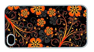 Hipster iPhone 4 case case mate covers Orange Flowers Texture PC White for Apple iPhone 4/4S