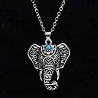 wanmanee Vintage Retro Silver Elephant Charm Pendant Turquoise Chain Choker Necklace Gift