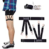 Mens Shirt Stays Upgrade Adjustable Elastic Garter Military Shirts Holder with Non-slip Locking Clamps (Black)