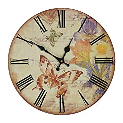 JustNile Gardenesque Wall Clock - 13-inch Round Music and Butterfly