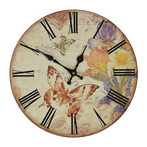 JustNile Gardenesque Wall Clock - 13-inch Round Music and