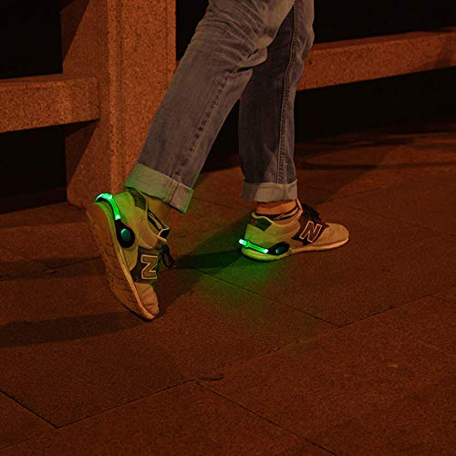 ZKZNsmart LED Shoes Clip Safety Lights, USB Rechargeable, Color Steady and Flash Modes and on/Off, Suitable for Running, Jogging, Walking, or Biking in The Dark (Green, Pack of 2) -