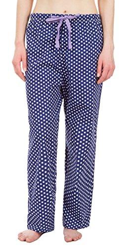 Poplin Pants Pajama Cotton - Leisureland Women's Cotton Poplin Pajama Lounge Pants, Sleep Pants, Sleepwear Bottoms Polka Dots Dark Blue Medium