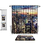 QINYAN-Home Print Bathroom Rugs Shower Curtain New York Decor Skyline of NYC with Urban Skyscrapers at Sunset Dawn Streets USA Architecture Orange Blue, Rug& Shower Curtain Bath Towel-Multiple Sizes