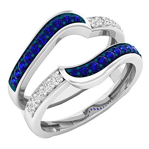 DazzlingRock Collection 10K White Gold Round Blue Sapphire & White Diamond Ladies Wedding Band Guard Double Ring (Size - Sapphire Ring Guard Bridal