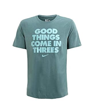 7f8db46c4 NIKE Men's Good Things Come in Three Crew Neck T-Shirt Hasta Green AR0668-