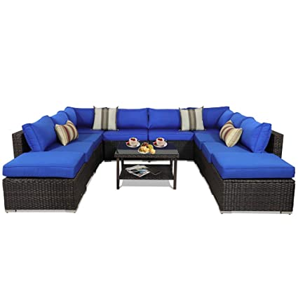 Outdoor Sectional Sofa Patio Furniture Brown Wicker Garden Rattan Sofa Set  11Pcs Outside Couch Porch Seating Royal Blue Cushion