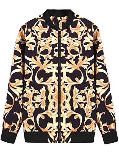 Daupanzees Men's Varsity Jacket Evening Bolero Long Sleeve Nightclub Jacket for Party,Disco,Dance (Gold XXL)]()