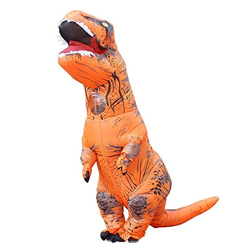 Halloween Costumes Orange (Davidamy's Gift Inflatable T-rex Dinosaur Halloween Suit Cosplay Fantasy Costume Adults (Orange))