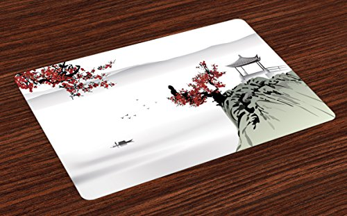 Ambesonne Asian Place Mats Set of 4, Asian River Scenery with Cherry Blossoms Boat Cultural Hints Mystical View Artsy, Washable Fabric Placemats for Dining Room Kitchen Table Decor, Ruby Pale Grey (Asian Placemat Set)
