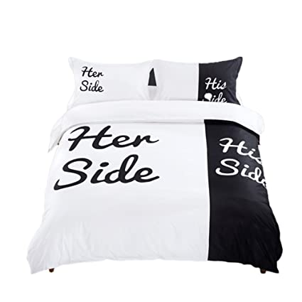Generic Her Side His Side Quilt Duvet Cover Set Couple Bedding Sets Include  1 Duvet Cover 1 Flat Sheet 2 Pillowcases (4pcs) In Queen King Size  (200x230CM): ...