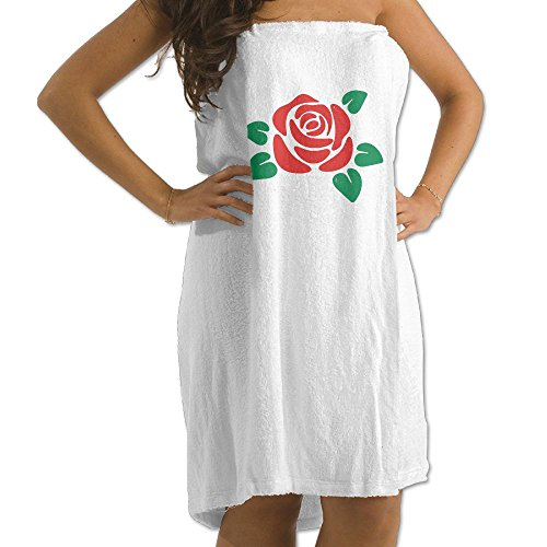 Jchskwn Women's Towel Wrap, Adjusttable Red Rose 2 Shower and Bath Wrap (One Size,White) (Red Bloom Spa)