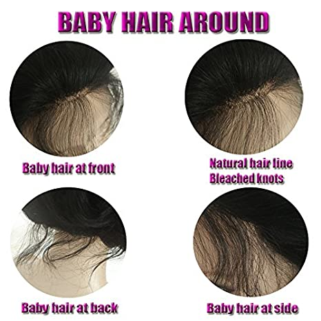 Amazon.com : Full Lace 8A Grade Human Hair Wigs Glueless Virgin Body Wave Hair Lace Brazilian Hair Natural Black Color 150% Density with Baby Hair for Black ...