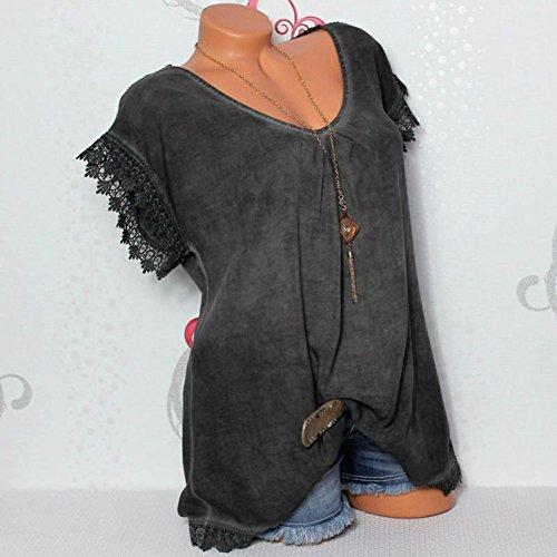 Courte Noir Dos Shirt Manche Tee Haut T Shirt Casual De Shirt Creux Blouse Top Femme qtUvRxR6